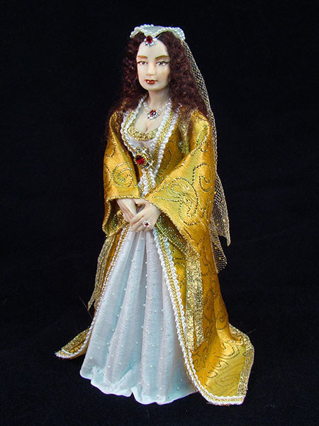 Tudor doll in 12th scale, hand sculpted and dressed by CDHM Artisan Deborah Mackie of Whitehorse Studio