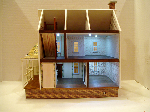Interior OOAK pink 144 scale dollhouse with lights by CDHM Artisan Lauretta Carroll of Midnight Magic Miniatures