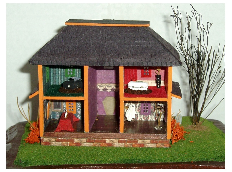 Original 144 scale spooky halloween dollhouse by CDHM Artisan Lauretta Carroll of Midnight Magic Miniatures