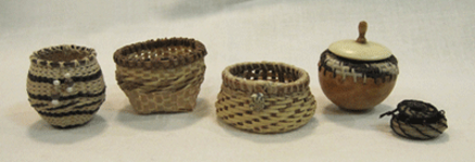 OOAK 1:12 scale dollhouse miniature baskets submission works to IGMA by CDHM Artisan Monica Graham, IGMA Artisan, of M-M-Minis