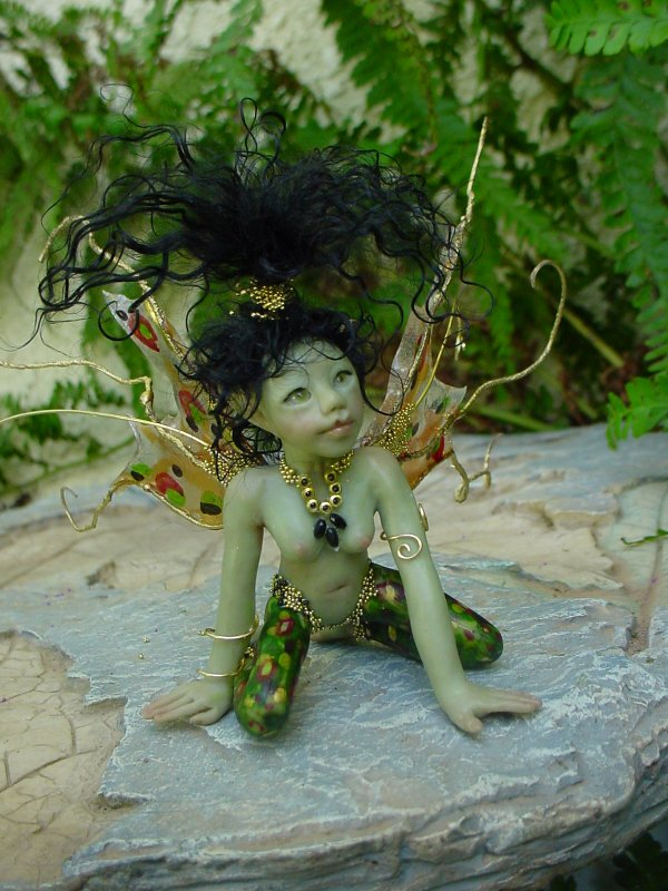 CDHM Gallery of Judy Raley of Once We Were Faeries making one of a kind hand sculpted fairies, collectible art dolls, mermaids, pixies and frogs, dressed and wigged dolls