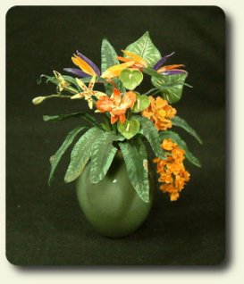 Anderson Pearce created this exotic floral arrangement in 1/12 scale
