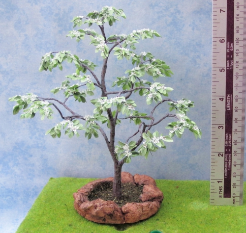 CDHM Gallery of Ceynix Miniature Trees 'n' Trains creating 1:12 trees, like this flowering Cornus Kousa, along with landscaping, bushes including for the railroad collector in HO scale