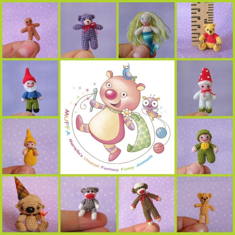 Miniature crochet Teddy Bears, Handmade miniature crocheted Animals