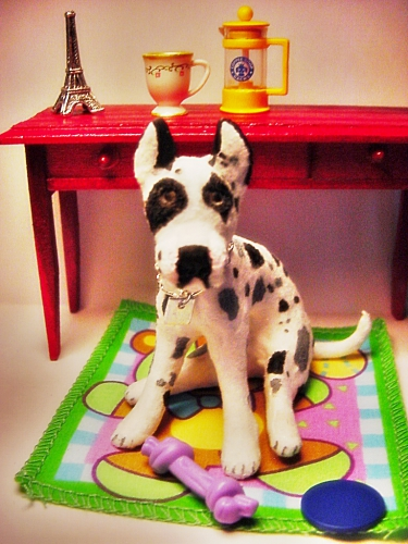 CDHM Gallery of June Girardi of June's Miniature Mart sculpted this great dane in 1:6 play scale for dollhouse miniature dollhouses