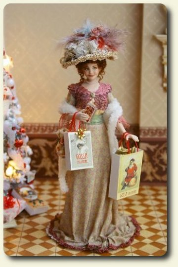 CDHM artisan Elisa Fenoglio, 1900's miniature porcelain doll dressed for Christmas in 1/12 scale