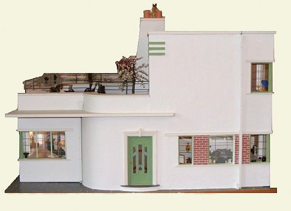 Customized 1:12 Scale Art Deco Dollhouse by Katina Beales