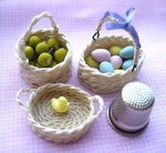 finished miniature baskets with varyng  handles