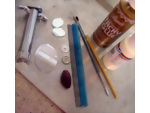 Tools and supplies used to make a dolls house flower border for your dollhouse