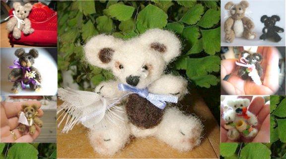 Miniature felted 1:12 teddy bear